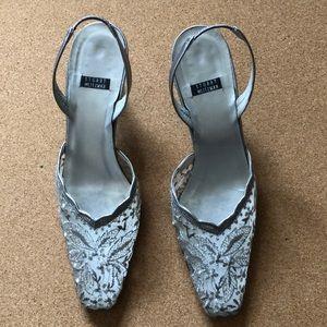 "Stuart Weitzman 8B Silver Lace Slingback 2.5"" Heel"